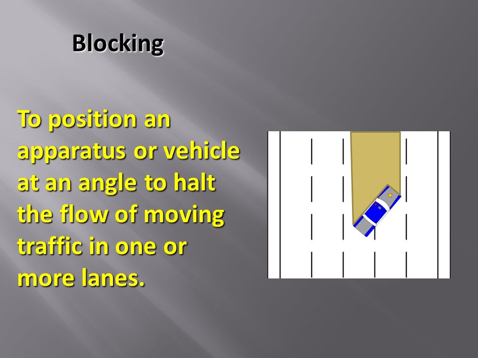 To position an apparatus or vehicle at an angle to halt the flow of moving traffic in one or more lanes. Blocking