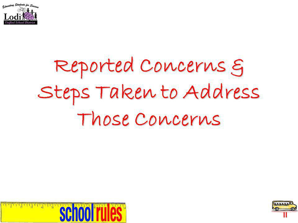 Reported Concerns & Steps Taken to Address Those Concerns II