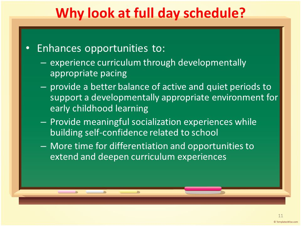 Why look at full day schedule? Enhances opportunities to: – experience curriculum through developmentally appropriate pacing – provide a better balanc