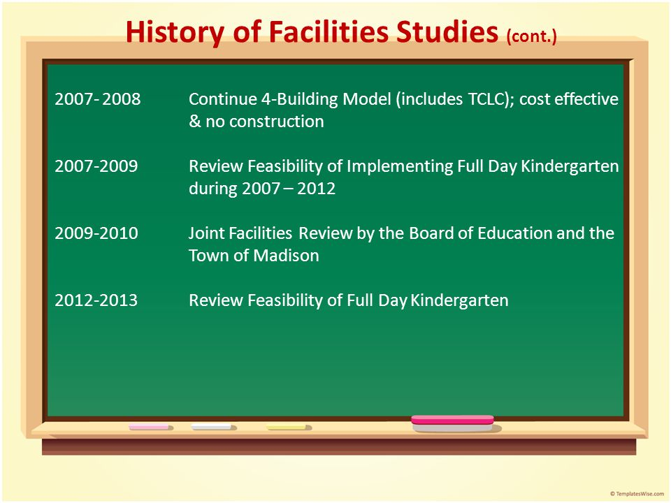 History of Facilities Studies (cont.) 2007- 2008Continue 4-Building Model (includes TCLC); cost effective & no construction 2007-2009Review Feasibilit