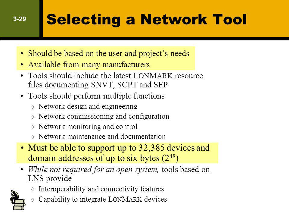 3-29 Selecting a Network Tool Should be based on the user and projects needs Available from many manufacturers Tools should include the latest L ON M