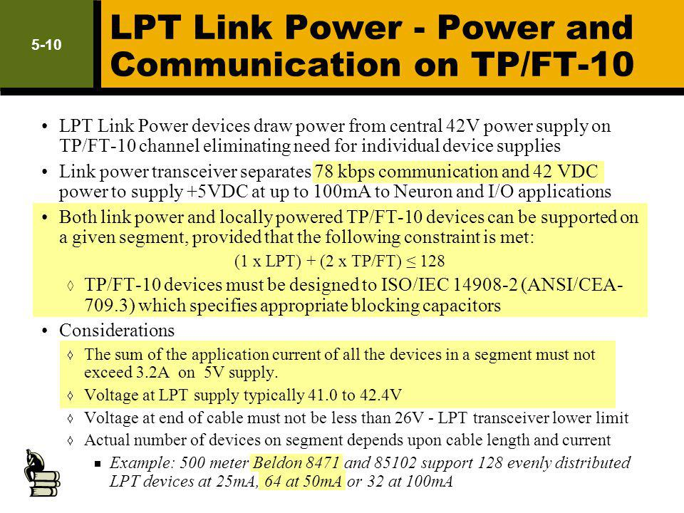 LPT Link Power - Power and Communication on TP/FT-10 LPT Link Power devices draw power from central 42V power supply on TP/FT-10 channel eliminating n