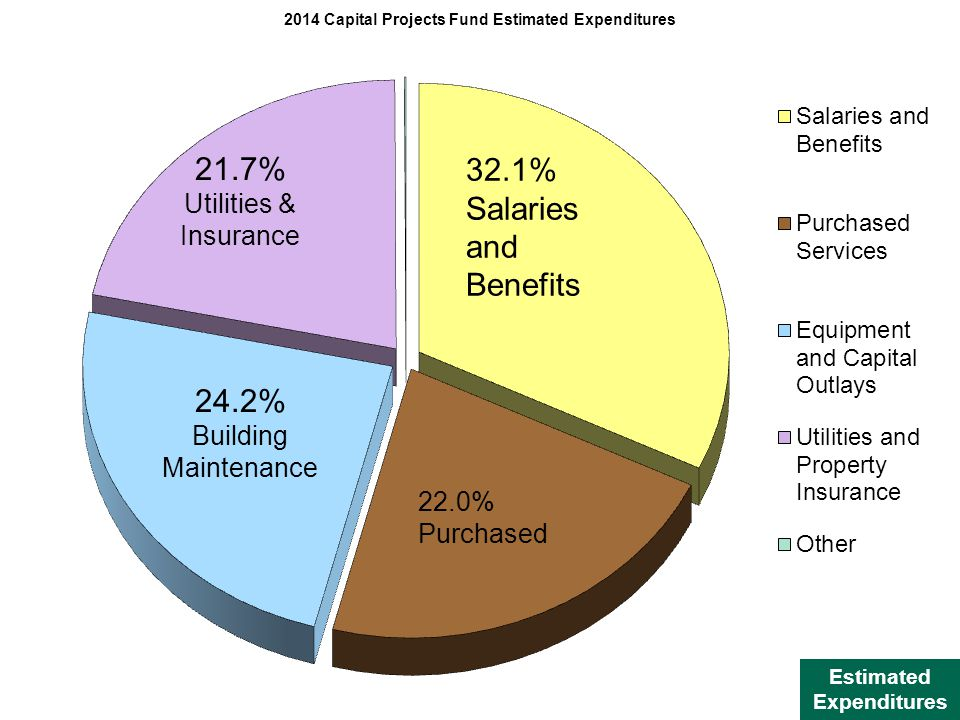32.1% Salaries and Benefits Estimated Expenditures 21.7% Utilities & Insurance 24.2% Building Maintenance