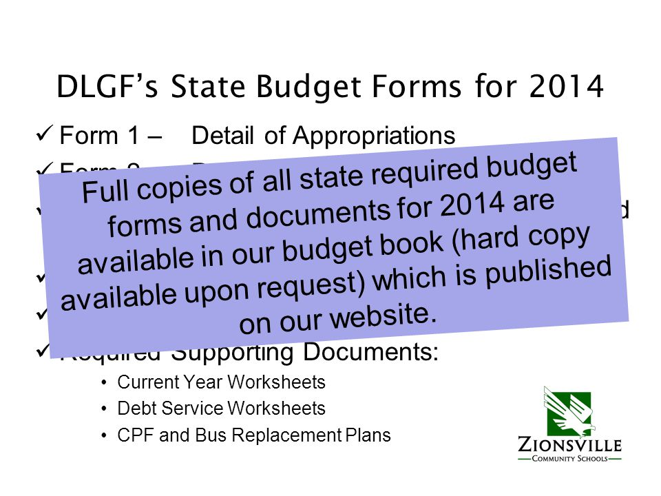 DLGFs State Budget Forms for 2014 Form 1 – Detail of Appropriations Form 2 – Projected Revenues Form 3 – Summary Totals of Appropriations and Levies F