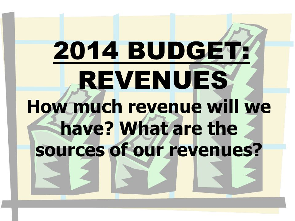 2014 BUDGET: REVENUES How much revenue will we have? What are the sources of our revenues?