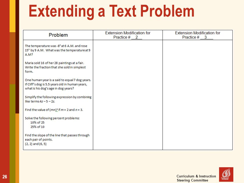 Extending a Text Problem 26 Curriculum & Instruction Steering Committee
