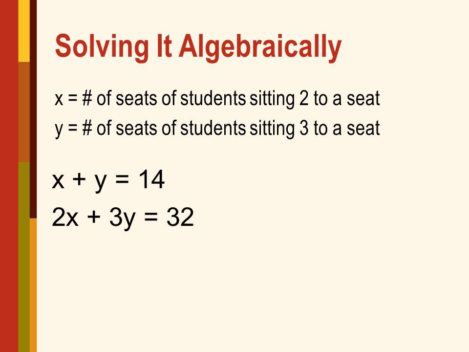 Solving It Algebraically x = # of seats of students sitting 2 to a seat y = # of seats of students sitting 3 to a seat x + y = 14 2x + 3y = 32