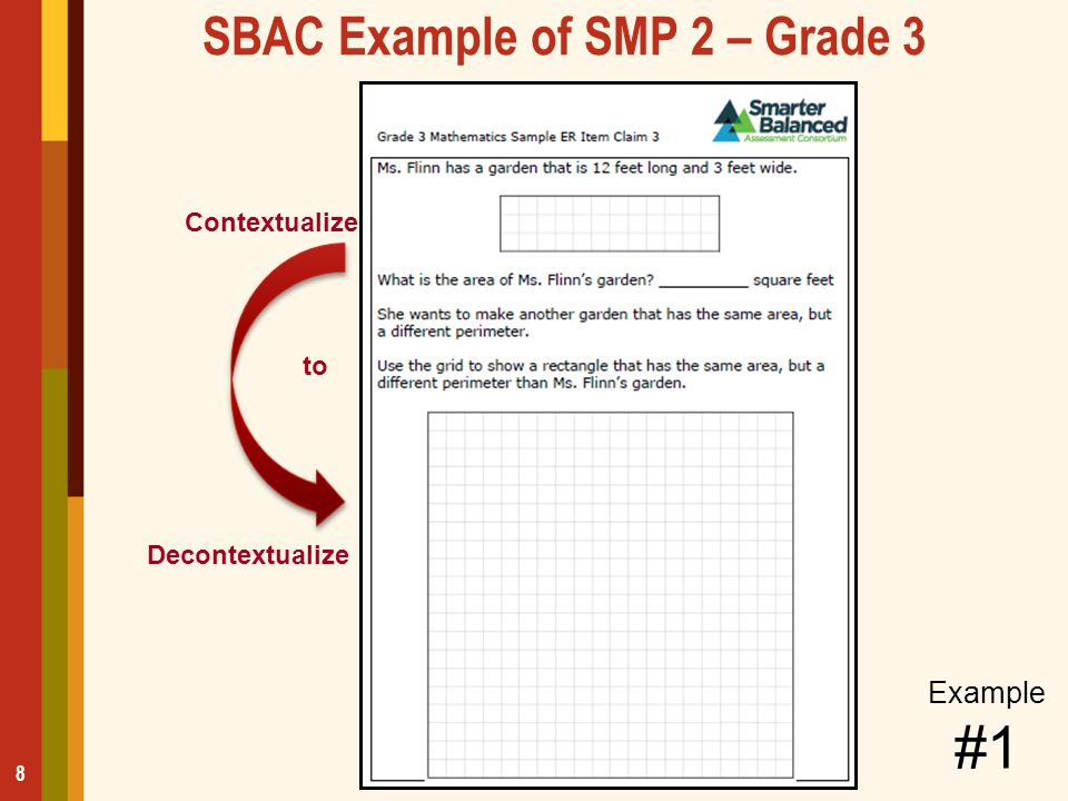 SBAC Example of SMP 2 – Grade 3 8 Contextualize Decontextualize to Example #1