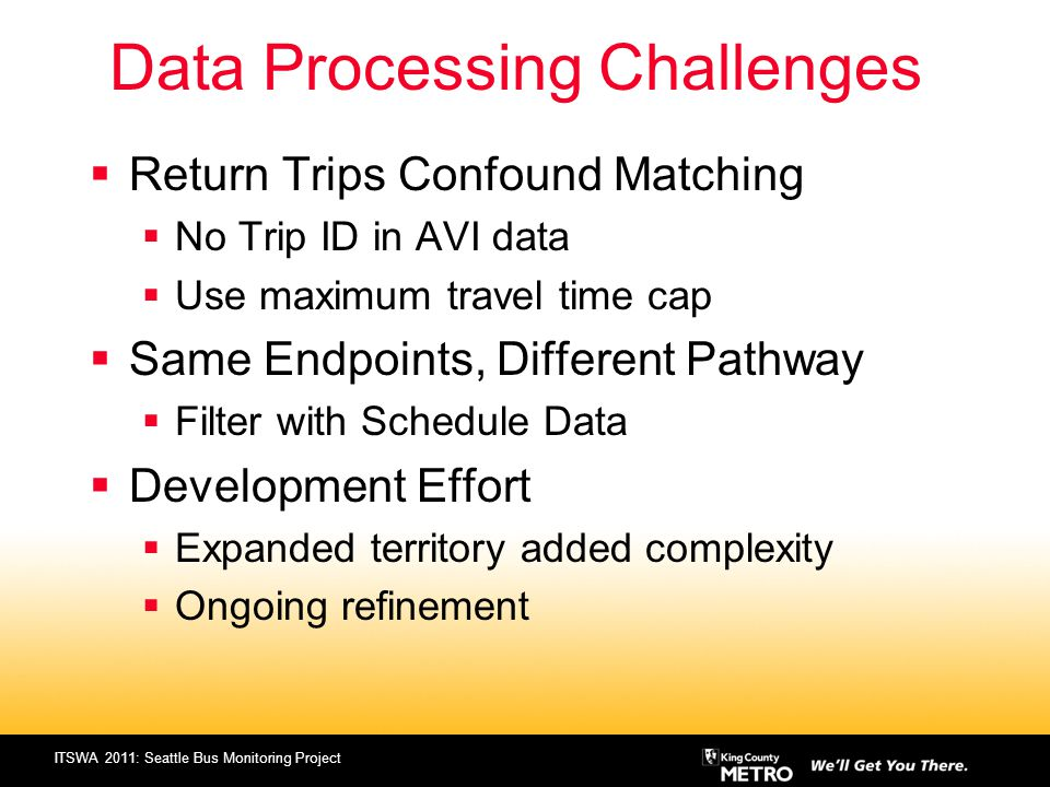 ITSWA 2011: Seattle Bus Monitoring Project Data Processing Challenges Return Trips Confound Matching No Trip ID in AVI data Use maximum travel time ca