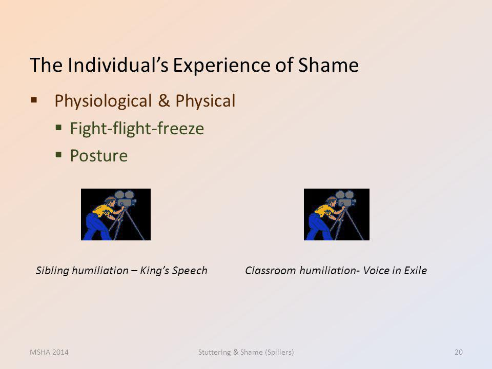 The Individuals Experience of Shame Physiological & Physical Fight-flight-freeze Posture MSHA 2014Stuttering & Shame (Spillers)20 Sibling humiliation