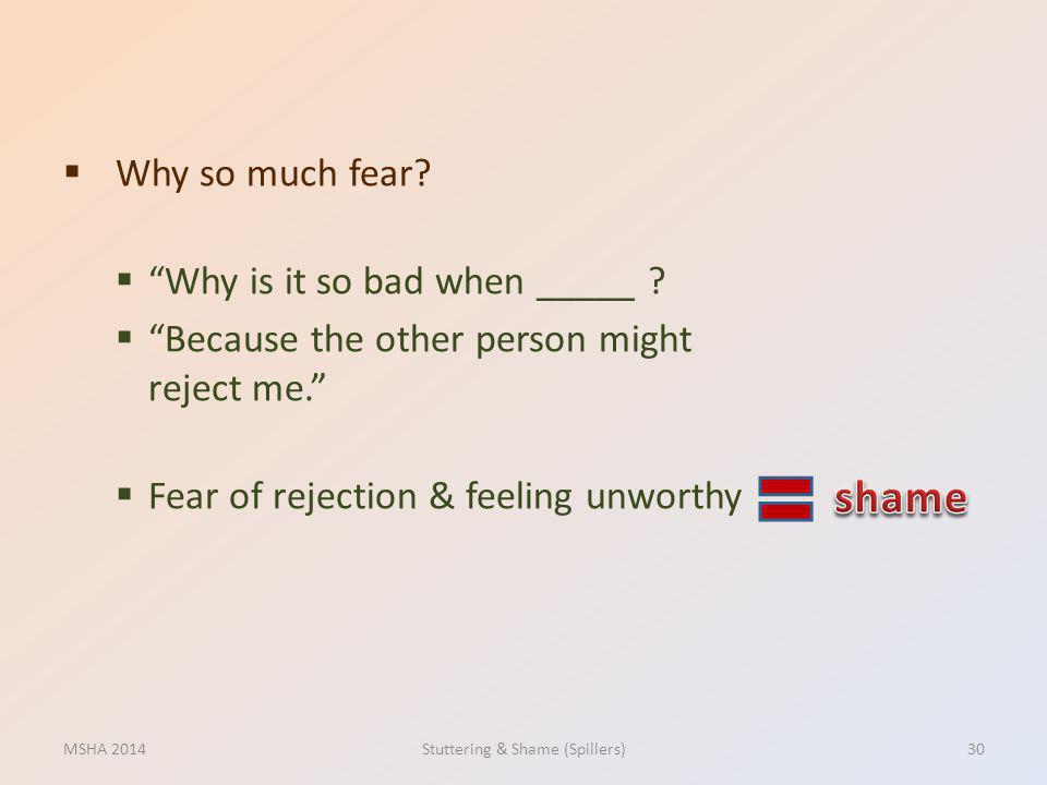 Why so much fear? Why is it so bad when _____ ? Because the other person might reject me. Fear of rejection & feeling unworthy MSHA 2014Stuttering & S