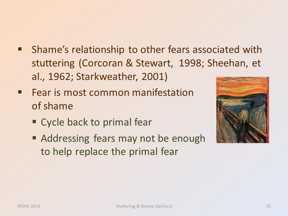Shames relationship to other fears associated with stuttering (Corcoran & Stewart, 1998; Sheehan, et al., 1962; Starkweather, 2001) Fear is most commo