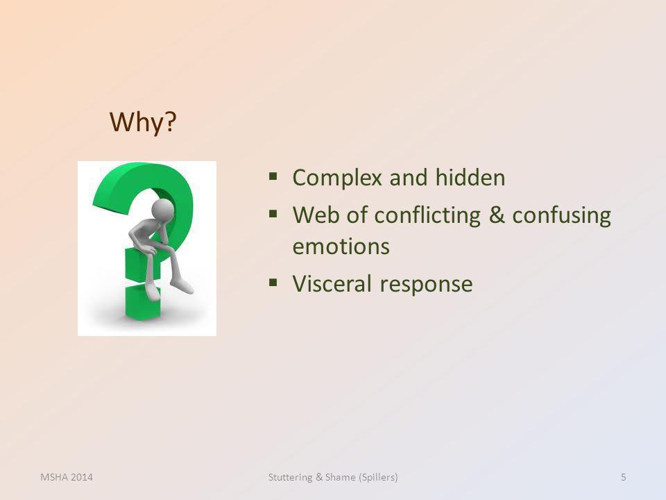 Complex and hidden Web of conflicting & confusing emotions Visceral response Why? MSHA 2014Stuttering & Shame (Spillers)5
