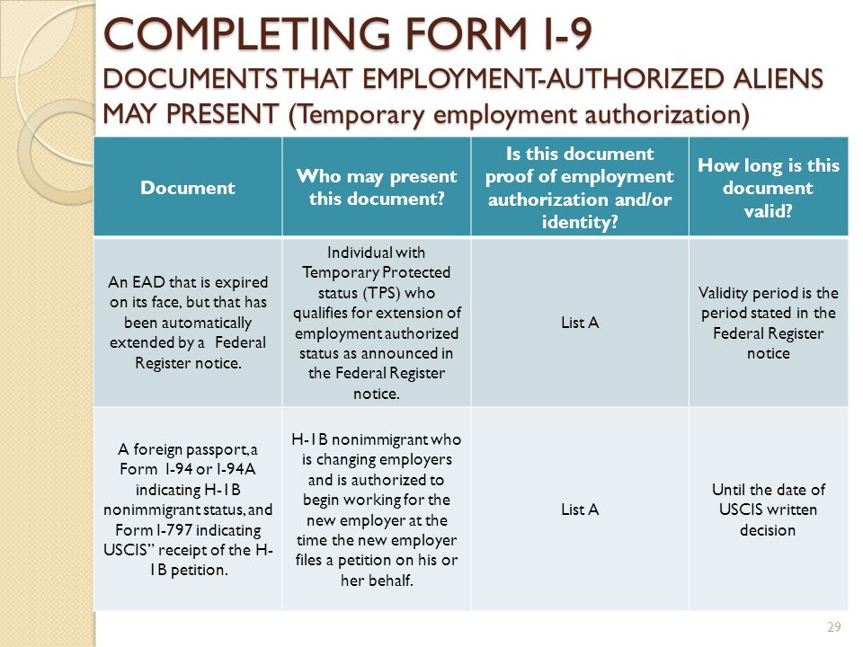 COMPLETING FORM I-9 DOCUMENTS THAT EMPLOYMENT-AUTHORIZED ALIENS MAY PRESENT (Temporary employment authorization) Document Who may present this document.