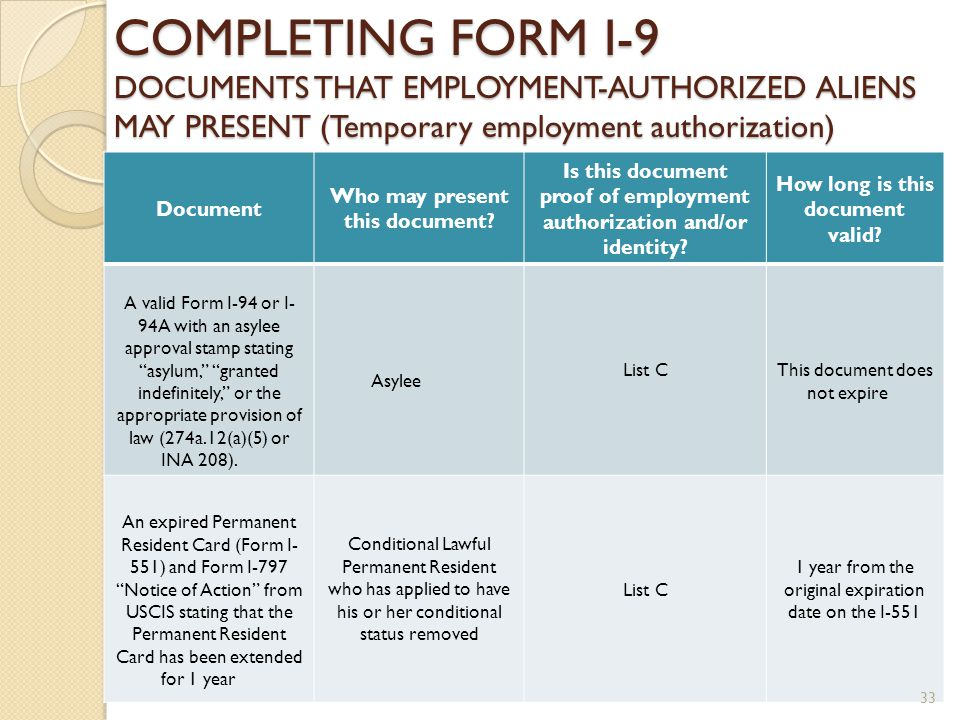 FORM I-9 EMPLOYMENT ELIGIBILITY VERIFICATION FORM ppt download