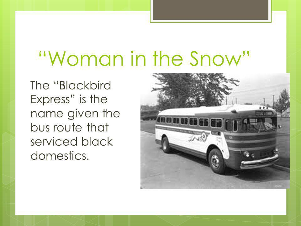 Woman in the Snow The Blackbird Express is the name given the bus route that serviced black domestics.