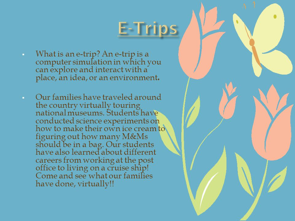 What is an e-trip? An e-trip is a computer simulation in which you can explore and interact with a place, an idea, or an environment. Our families hav