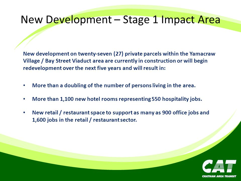 New Development – Stage 1 Impact Area New development on twenty-seven (27) private parcels within the Yamacraw Village / Bay Street Viaduct area are c