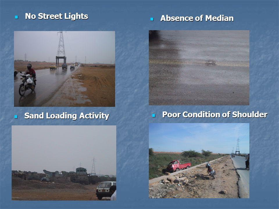 No Street Lights No Street Lights Absence of Median Absence of Median Sand Loading Activity Sand Loading Activity Poor Condition of Shoulder Poor Cond