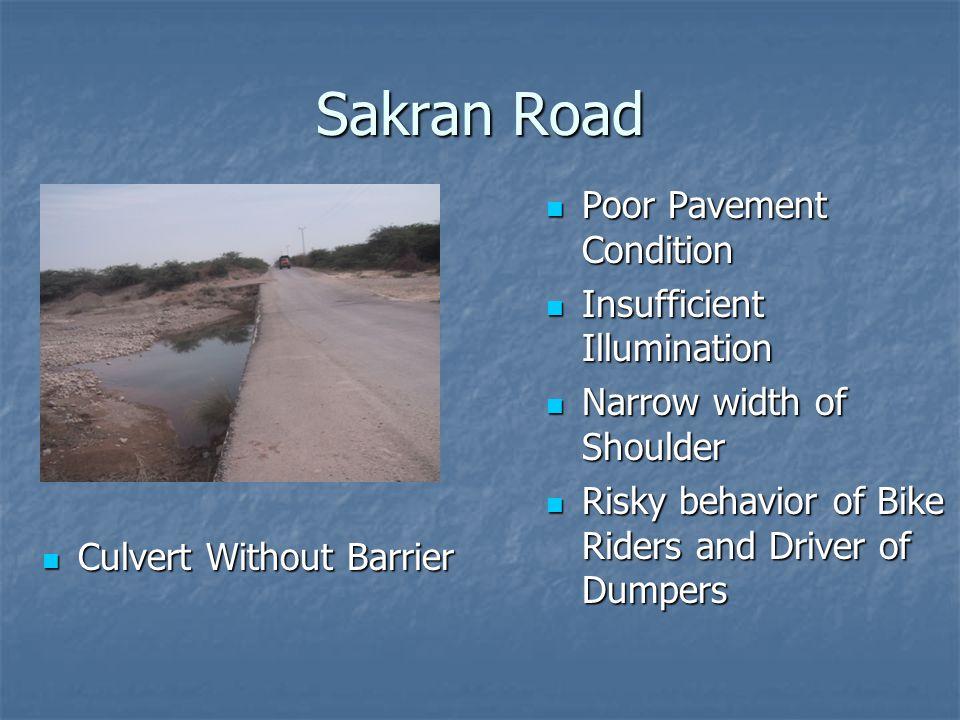 Sakran Road Culvert Without Barrier Culvert Without Barrier Poor Pavement Condition Poor Pavement Condition Insufficient Illumination Insufficient Ill