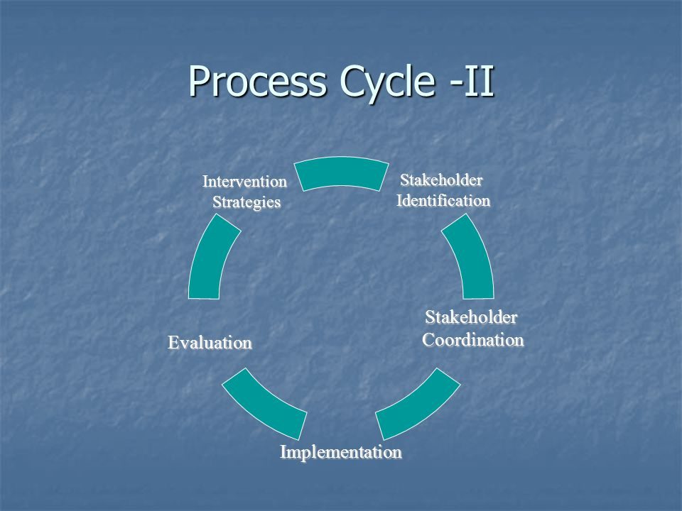 Process Cycle -II StakeholderIdentification Evaluation Intervention Strategies Strategies Implementation StakeholderCoordination