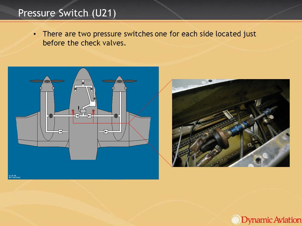 Pressure Switch (U21) There are two pressure switches one for each side located just before the check valves.