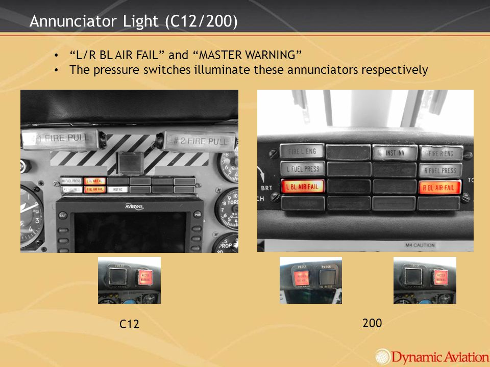 Annunciator Light (C12/200) L/R BL AIR FAIL and MASTER WARNING The pressure switches illuminate these annunciators respectively C12 200