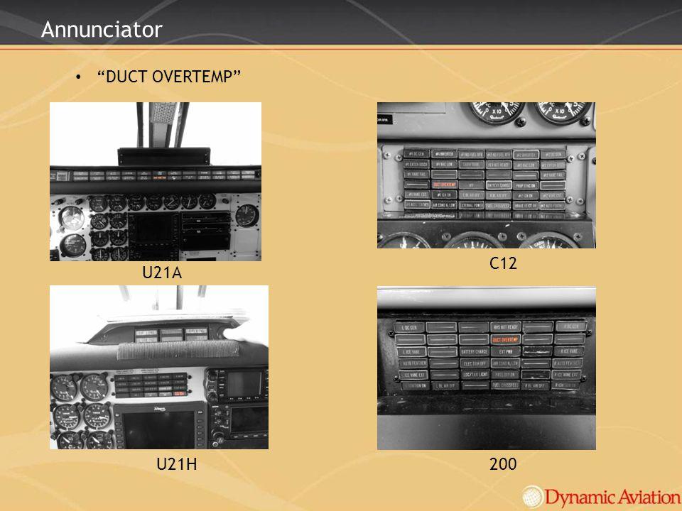 Annunciator DUCT OVERTEMP U21H200 C12 U21A
