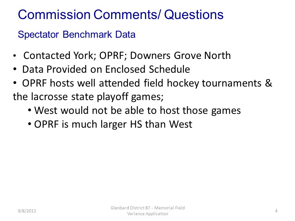 9/8/20114 Glenbard District 87 - Memorial Field Variance Application Contacted York; OPRF; Downers Grove North Data Provided on Enclosed Schedule OPRF