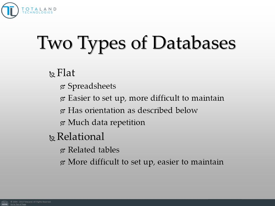 Two Types of Databases Flat Spreadsheets Easier to set up, more difficult to maintain Has orientation as described below Much data repetition Relational Related tables More difficult to set up, easier to maintain