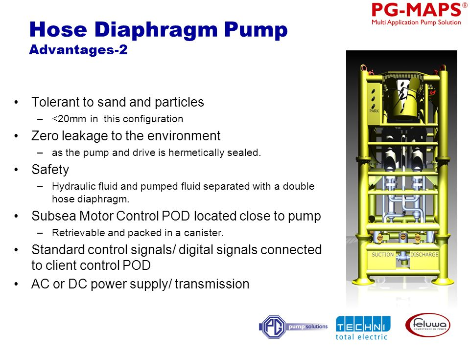 Hose Diaphragm Pump Advantages-2 Tolerant to sand and particles –<20mm in this configuration Zero leakage to the environment –as the pump and drive is