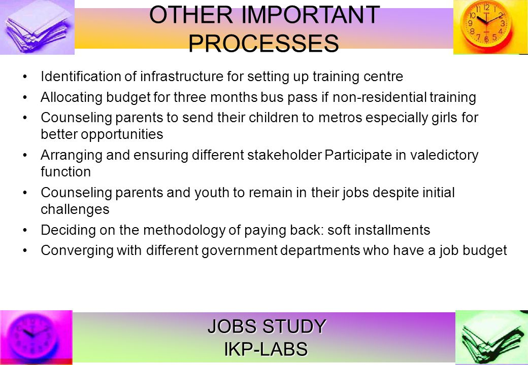 JOBS STUDY IKP-LABS Raju 21, painter in Bhongir Mother : SHG member; father marginal farmer Private school duped by the head master 10th standard back to painting Mother informs him of market linked training Today Pizza Hut, upmarket Banjara Hills drawing Rs.