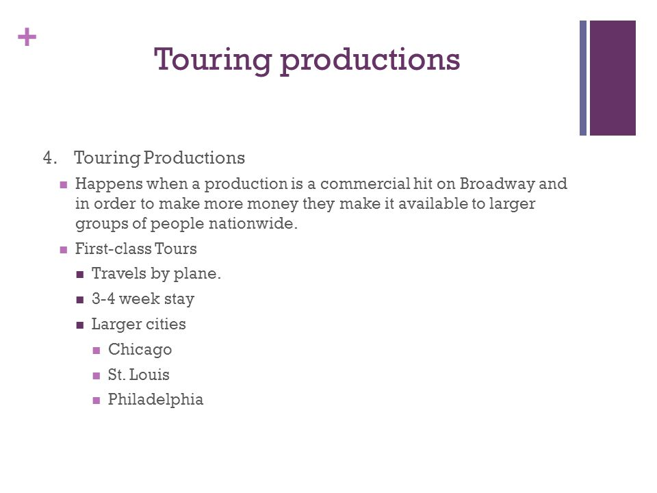 + Touring productions 4.