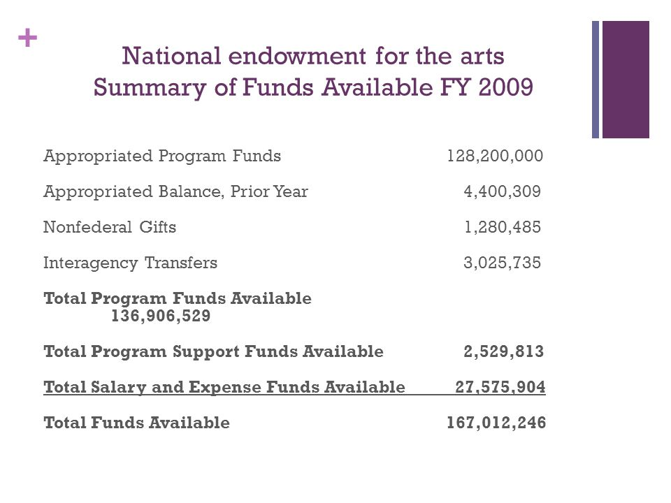+ National endowment for the arts Summary of Funds Available FY 2009 Appropriated Program Funds 128,200,000 Appropriated Balance, Prior Year 4,400,309 Nonfederal Gifts 1,280,485 Interagency Transfers 3,025,735 Total Program Funds Available 136,906,529 Total Program Support Funds Available 2,529,813 Total Salary and Expense Funds Available 27,575,904 Total Funds Available 167,012,246
