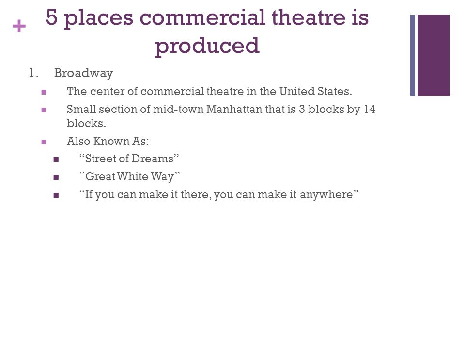 + 5 places commercial theatre is produced 1.Broadway The center of commercial theatre in the United States.