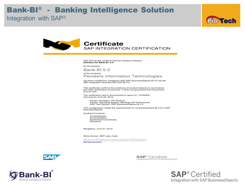 Bank-BI ® - Banking Intelligence Solution Integration with SAP ®