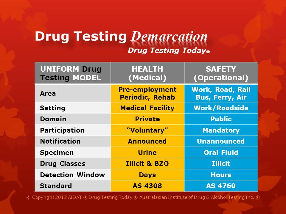 UNIFORM Drug Testing MODEL HEALTH (Medical) SAFETY (Operational) Area Pre-employment Periodic, Rehab Work, Road, Rail Bus, Ferry, Air SettingMedical F