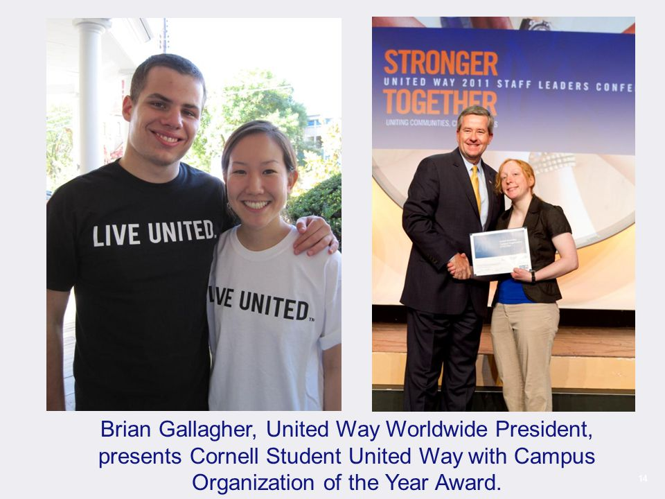 14 Brian Gallagher, United Way Worldwide President, presents Cornell Student United Way with Campus Organization of the Year Award.