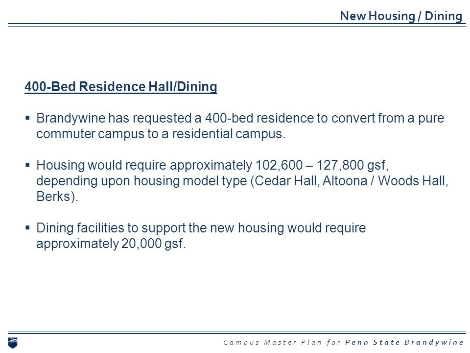 Campus Master Plan for Penn State Brandywine New Housing / Dining 400-Bed Residence Hall/Dining Brandywine has requested a 400-bed residence to conver