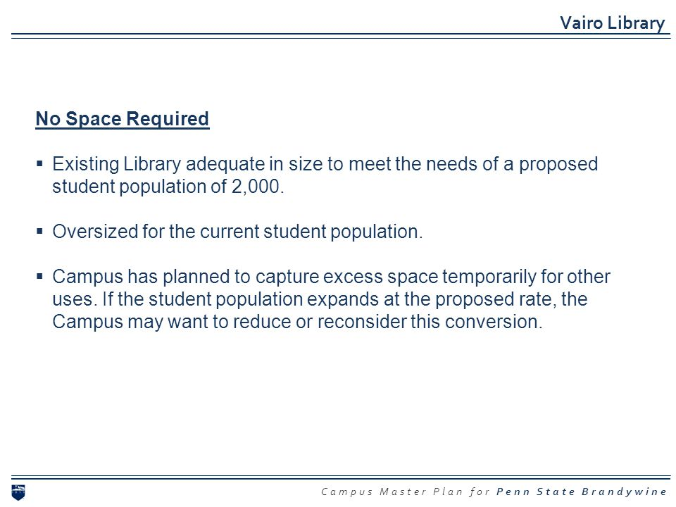 Campus Master Plan for Penn State Brandywine Vairo Library No Space Required Existing Library adequate in size to meet the needs of a proposed student