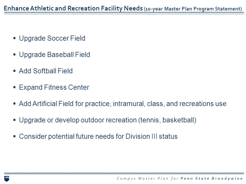 Campus Master Plan for Penn State Brandywine Enhance Athletic and Recreation Facility Needs (10-year Master Plan Program Statement) Upgrade Soccer Fie