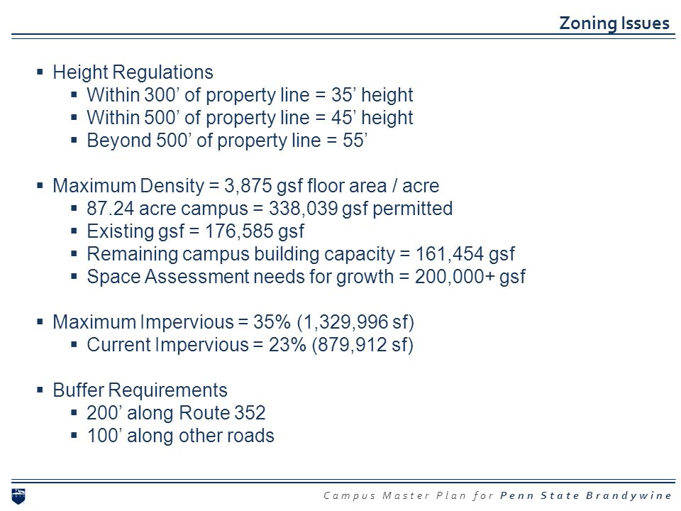 Campus Master Plan for Penn State Brandywine Zoning Issues Height Regulations Within 300 of property line = 35 height Within 500 of property line = 45