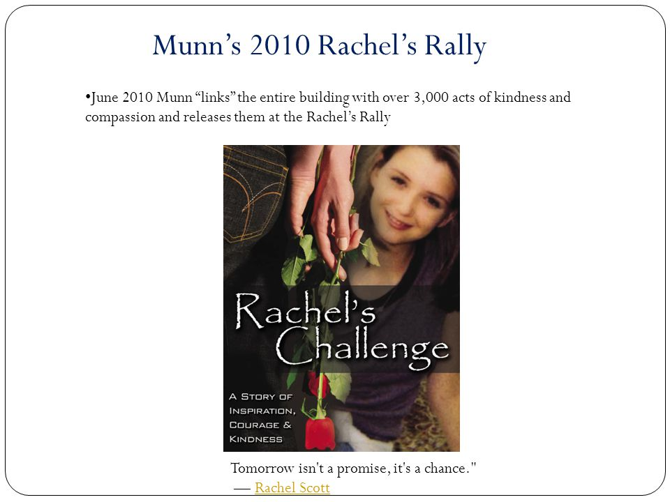 June 2010 Munn links the entire building with over 3,000 acts of kindness and compassion and releases them at the Rachels Rally Munns 2010 Rachels Rally Tomorrow isn t a promise, it s a chance. Rachel ScottRachel Scott