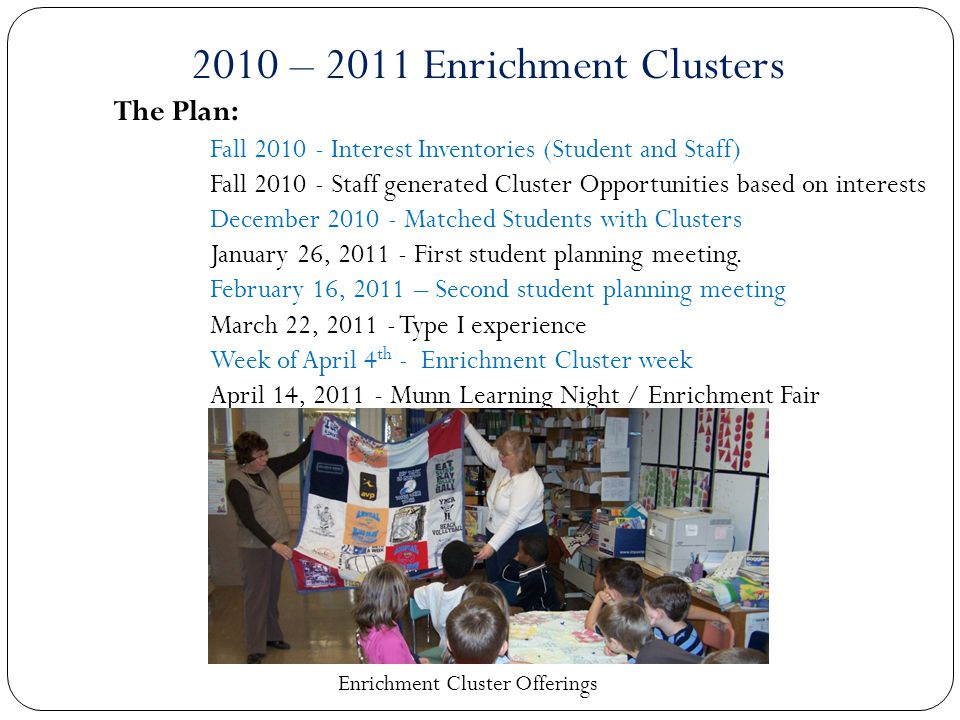 The Plan: Fall 2010 - Interest Inventories (Student and Staff) Fall 2010 - Staff generated Cluster Opportunities based on interests December 2010 - Matched Students with Clusters January 26, 2011 - First student planning meeting.