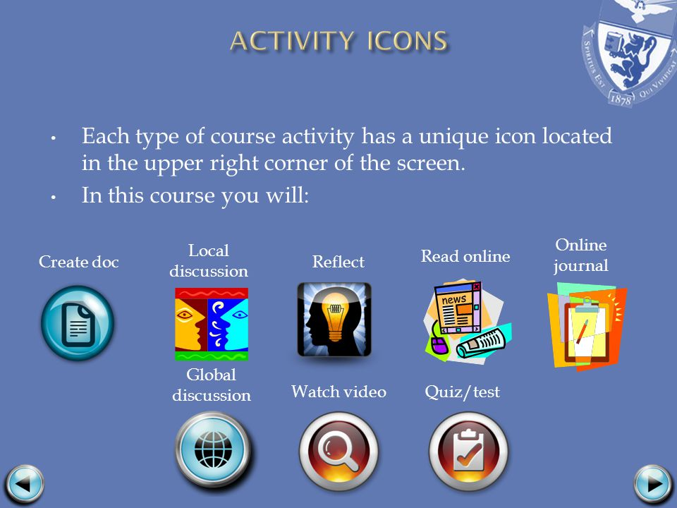 Each type of course activity has a unique icon located in the upper right corner of the screen. In this course you will: Global discussion Watch video