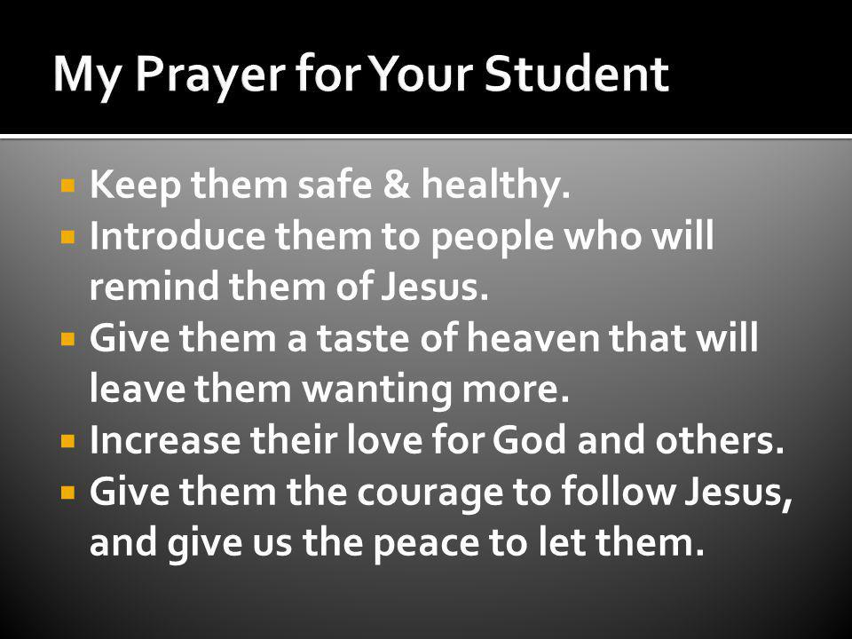 Keep them safe & healthy. Introduce them to people who will remind them of Jesus.