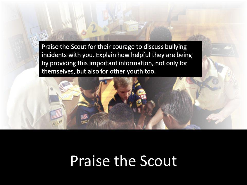 Praise the Scout Praise the Scout for their courage to discuss bullying incidents with you.