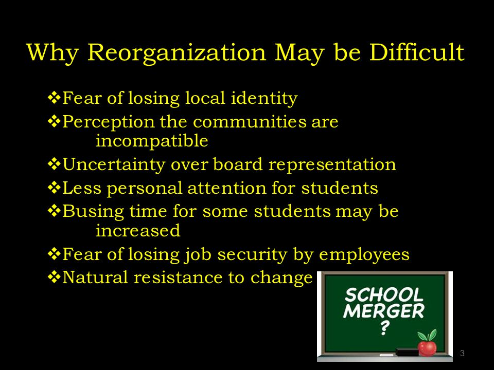 Why Reorganization May be Difficult Fear of losing local identity Perception the communities are incompatible Uncertainty over board representation Less personal attention for students Busing time for some students may be increased Fear of losing job security by employees Natural resistance to change 3