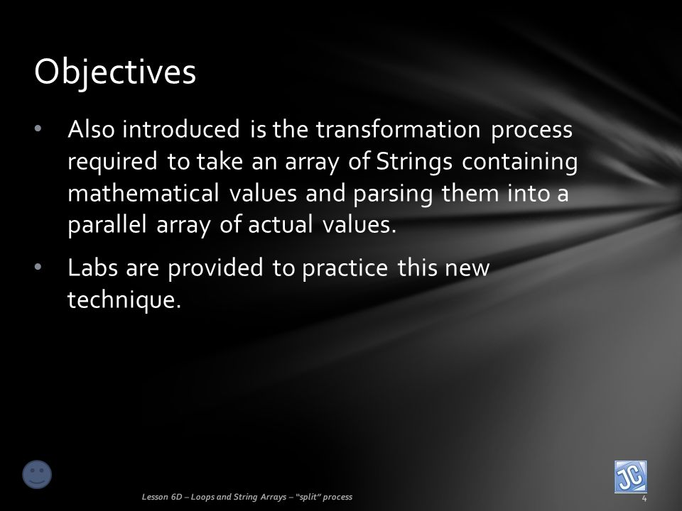 File input split scenario Lesson 6D – Loops and String Arrays – split process5 This advanced technique will require some careful concentration and study, as well as learning a new and advanced data structure called an array.