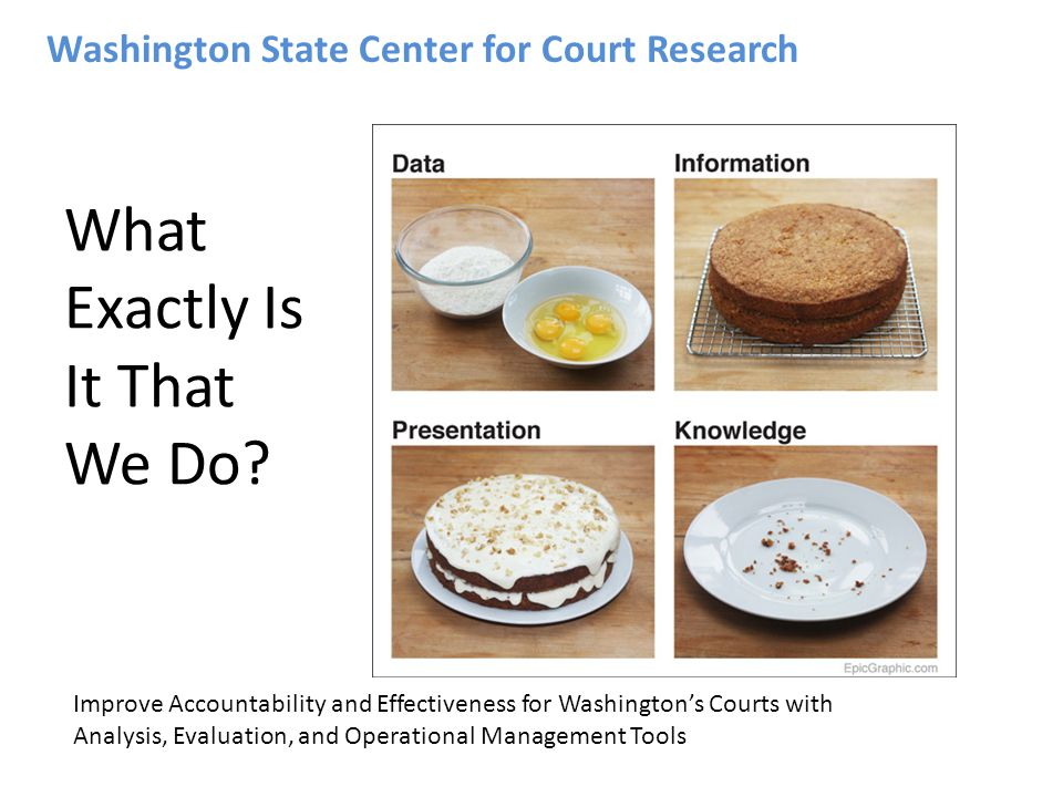 Washington State Center for Court Research What Exactly Is It That We Do? Improve Accountability and Effectiveness for Washingtons Courts with Analysi